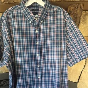 Men's blue and pink plaid button down shirt